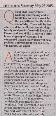 The Times recommends Watermill Cottages 23 May 2015
